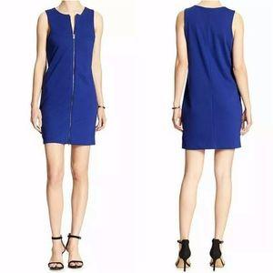 Banana Republic Blue Zip Front Ponte Sheath Dress